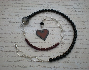 Chained to your heart beaded necklace, one of a kind, garnet, black onyx, sterling silver, rustic iron heart charm, unique jewelry