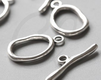 6 Sets Oxidized Silver Tone Base Metal Toggle Clasps (15785Y-J-35)