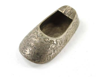 Vintage Silver Plated Brass Shoe Ashtray