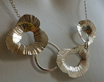 Sterling Silver Asymmetrical 'Poppies' Necklace