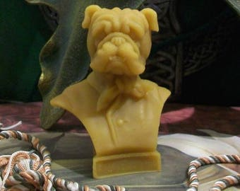 Victorian Bulldog Bust Beeswax Candle Dog Puppy Dog Free USA Shipping