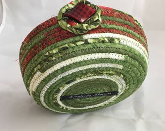 Mixed Green Red Medium Fabric Basket - Fabric Bowl - Home Decor