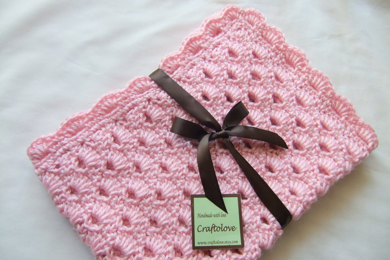 Baby Girl Blanket Crochet Baby Blanket Pink Arch Shells