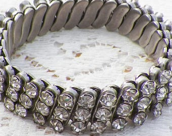 Vintage Clear Rhinestone Expansion Bracelet, Rhinestones, Silver Tone Metal, Stretch / Stretching / Stretchable / Expanding / Expandable
