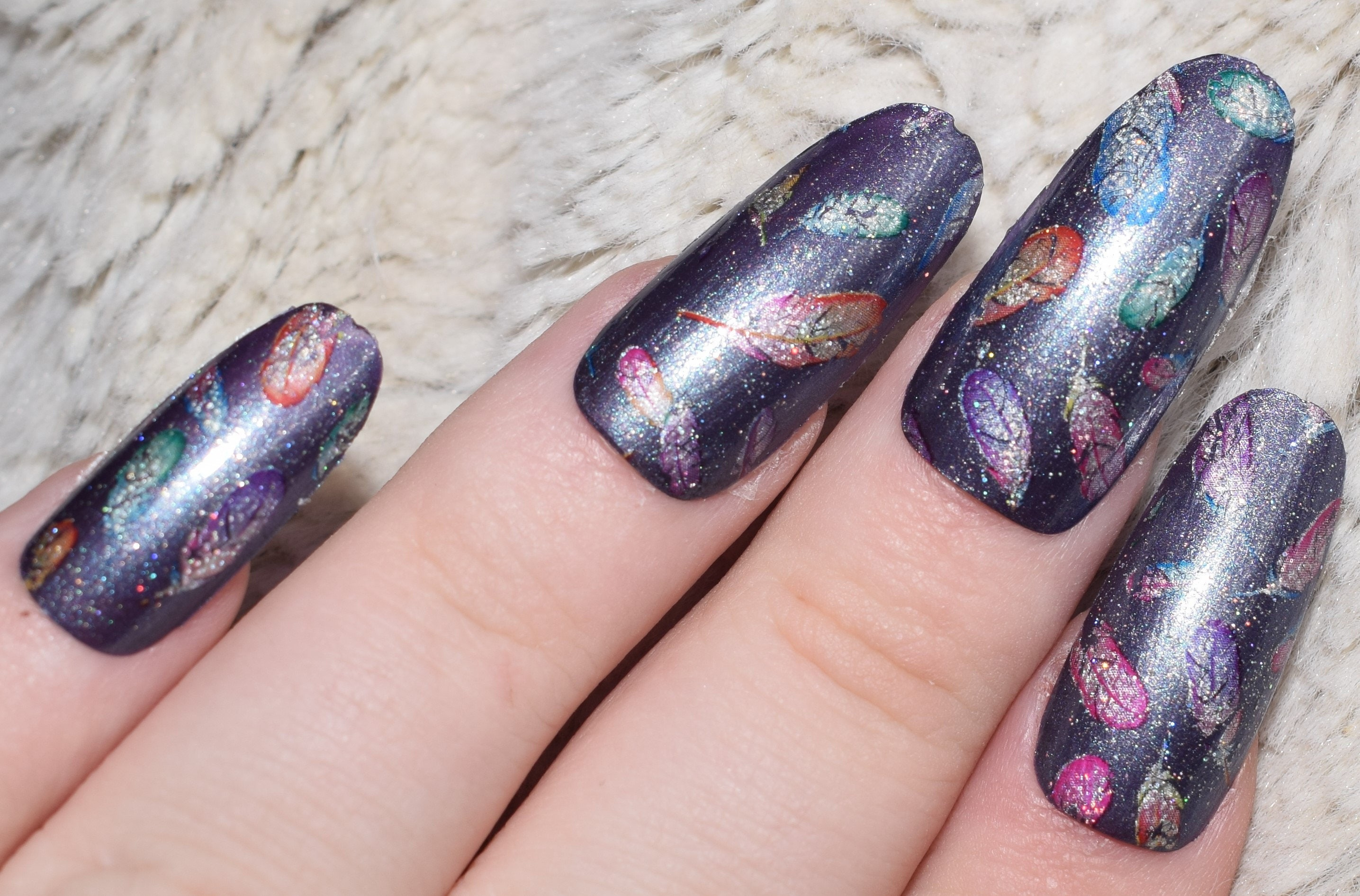 Lilac Silver Fake Nails,Long Oval False Nails, Round Nails Hand ...