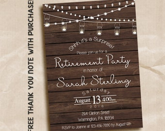 Surprise retirement party invitation, surprise party, retirement party