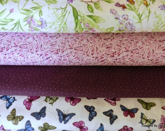 Fabric Bundle, 4 Fat Quarters, Butterflies-Butterfly Wings-Flowers, Benartex/Red Rooster/Keepsake Calico, Sewing-Quilting-Craft Supplies