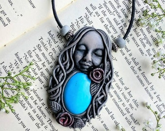 Handcrafted Goddess Pendant,  One Of A Kind Goddess Pendant,  Polymer Clay Goddess Pendant, Turquoise Pendant, Bohemian Goddess Pendant.