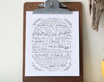 Colossians 3:12-17  Printable Bible Verse Art Print 8x10 Digital Wall Art Gift