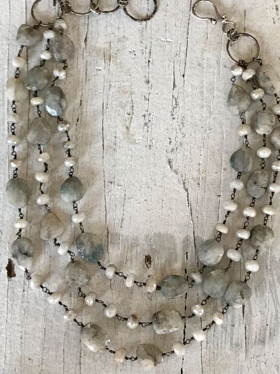 Winter skies.  Stunning 3 strand aqua silverite necklace with oxidized sterling chain and hand forged hook clasp. One of a kind by ladeDAH!
