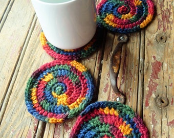 Jewel Tone Spiral Coasters/Mug Mats Set of 4