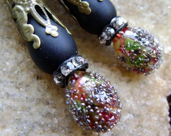 romantic bohemian earrings, lampwork headpins, edgy romance, brass filigree, assemblage to wear, mixed media, unique jewelry, AnvilArtifacts