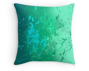 Mint Green Throw Pillow, Abstract Splatter Art, Scatter Cushion, 16x16 18x18 20x20 Cushion Cover, Modern Decor