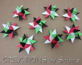Company Colors Decoration, Ornaments Paper Stars Set of 8 Holiday Parties Secret Santa Favors Gift Exchange Ornaments READY TO SHIP (69)