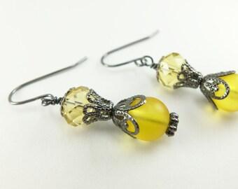 Yellow Earrings, Dark Silver Yellow Dangle Earrings, Gunmetal Glass Beaded Drop