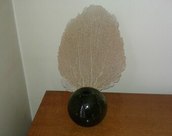 Vintage green glass fishing float ball