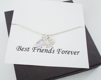 Lotus Charm and Pink Amethyst Briolette Silver Necklace ~Personalized Jewelry Gift Card for Best Friend, Sister, Bridal Party, Graduation