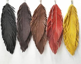 Large Feather Earrings - Bohemian Earrings, Gold Leather, Boho Bride, Boho Earrings,  Bridal Earrings, Boho, Feather Earrings Men, Feathers