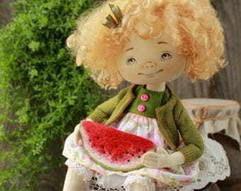 Art doll, Ooak art doll, Cloth doll, Art doll, Textile doll, Collecting doll, Soft doll, Rag doll, Handmade interior doll, watermelon, SOLD