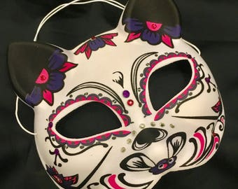 Kitty Day of the Dead Halloween Mask