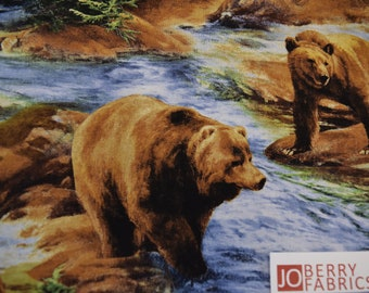 Grizzley Bears by Karen Hultberg with Wild Wings for Spring Creative Products.   Quilt or Craft Fabric, Fabric by the Yard.
