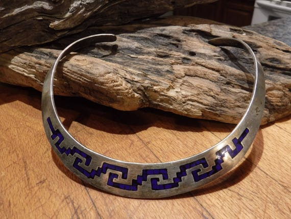 """Vintage Sterling Silver Mexico Collar Necklace 57.7 Grams adjustable Neck  3/4"""" Wide Choker Necklace Sterling Mexico Blue Lapis Choker"""