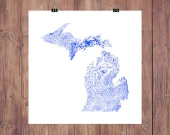 Michigan Rivers & Waterbodies High Resolution Digital Print / Map of Michigan / Michigan Print / Michigan Art / Michigan Map