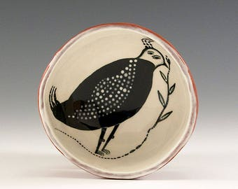 Black Bird - Original Painting by Jenny Mendes in a Hand Pinched Ceramic Finger Bowl