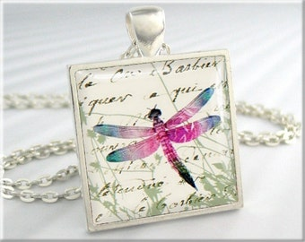 Dragonfly Art Pendant, Dragonfly Jewelry, Resin Charm, Square Silver, Dragonfly Necklace, Gift Under 20, Summer Season 157SS