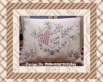 Love Letter--Primitive Stitchery E-PATTERN-by Primitive Stitches-Instant Download