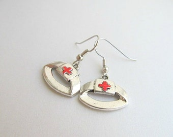 Nurse Hat Hoop Earrings