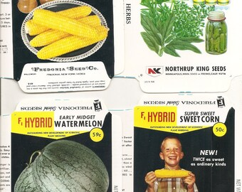 19  Vintage FLOWER / VEGETABLE Unfolded Vegetable Seed Packs