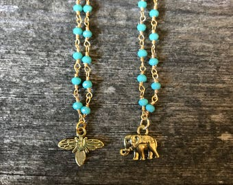 Turquoise Rosary Chain - Charm
