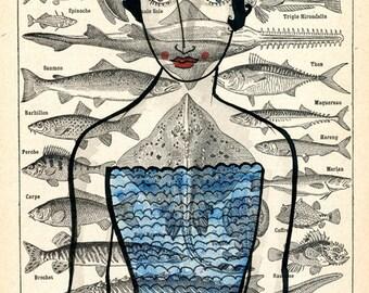 Blue Queen-Ocean, Nautical Print, Sea creatures, Blue, Ocean Print, Beachhouse Print, Beach Inspired