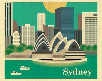 Sydney Skyline Art Print, Sydney Opera House, Sydney Australia Poster, Sydney Australia, vertical wall art, Loose Petals,  style E8-O-SYD