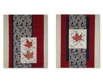 Art Quilt mural paire rouge érable feuilles volutes de Style asiatique