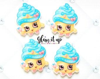 Shopkin bow center-cupcake queen Center- shopkin inspired Flatback resin- shopkin cabochon-shopkin hair bow center-hair bow