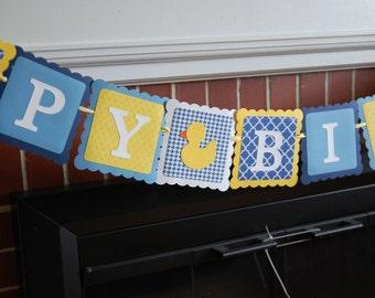 Rubber Duck anniversaire bannière, bannière de joyeux anniversaire, fête d'anniversaire de canard en caoutchouc, thème canard, bleu marine, bleu, jaune