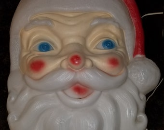 Vintage Blow Mold Santa Face Yard Decoration Empire Inc Made in USA