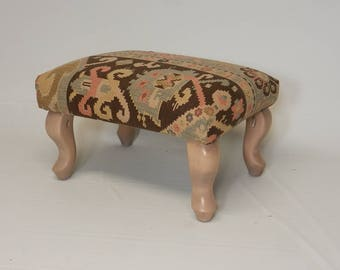 Antique Textile Footstool