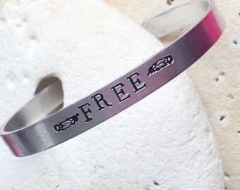Free motto bracelet - adjustable -handstamped - vegan