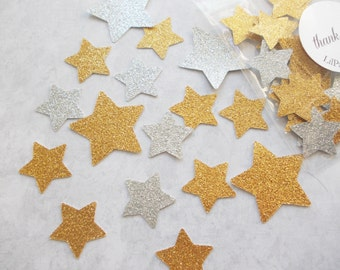 Twinkle Twinkle Little Star Confetti, Glitter Gold & Silver Star Confetti, Birthday Party, Table Confetti, Party Decoration 70 Ct.