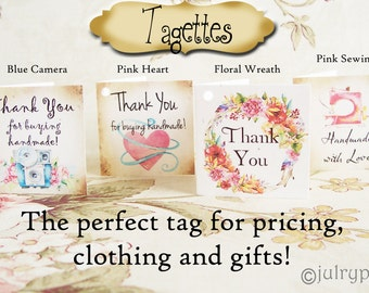 45•TAGETTES•Tag Mix•Mini Tags•Hang tags•Gift Tags•Favor Tags•Paper Tags•Price Tags•Clothing Tags