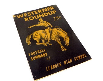 1950's Lubbock Texas Westerner Roundup Football Summary Book John Lee Sports Cartoonist 1950's Football Players Lubbock Texas High School