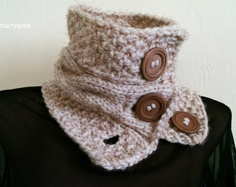 Knit Scarf Harbor Scarf with Buttons Boston Harbor Scarf Winter Accessory Short beige scarf Chunky Cowl Gift for Her Neck Warmer