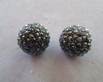 """Silver crystal studded button earrings measures 3/4"""" x 3/4"""""""
