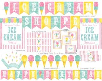 Ice Cream Party Printables Set, Ice Cream Shoppe Party Decorations, Ice Cream Social Party Printables, Ice Cream Party PDF INSTANT DOWNLOAD