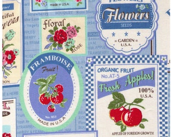 HALF YARD Yuwa - Vintage Fruit and Flower Labels on BLUE Colorway F - Atsuko Matsuyama 30s collection -  Japanese Import Fabric