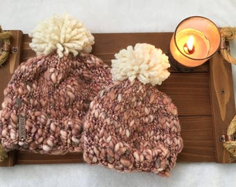 Mommy and Me Rust Colored Hat Set with Cream Pom Pom, Women's Knit Beanie with Pom Pom, Baby Knit Hat, Toddler Knit Hat, 1 Year Old Knit Hat