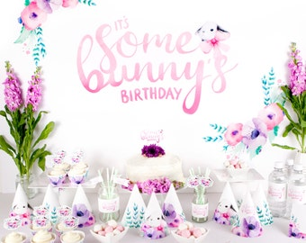 "Printable Party Pack ""It's Some Bunny's Birthday"" Watercolour Party Printables for first birthday party including bunny backdrop"
